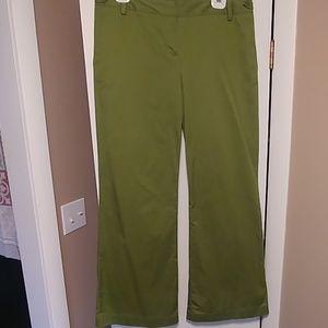 Green bell bottom khakis